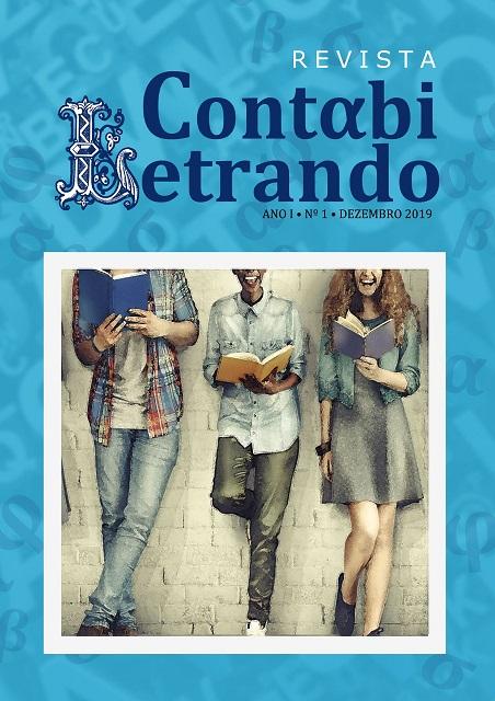 Capa da Revista Contabiletrando. Imagem de três jovens com livros nas mãos e sorriso no rosto. A capa da revista é de cor azul e branca.