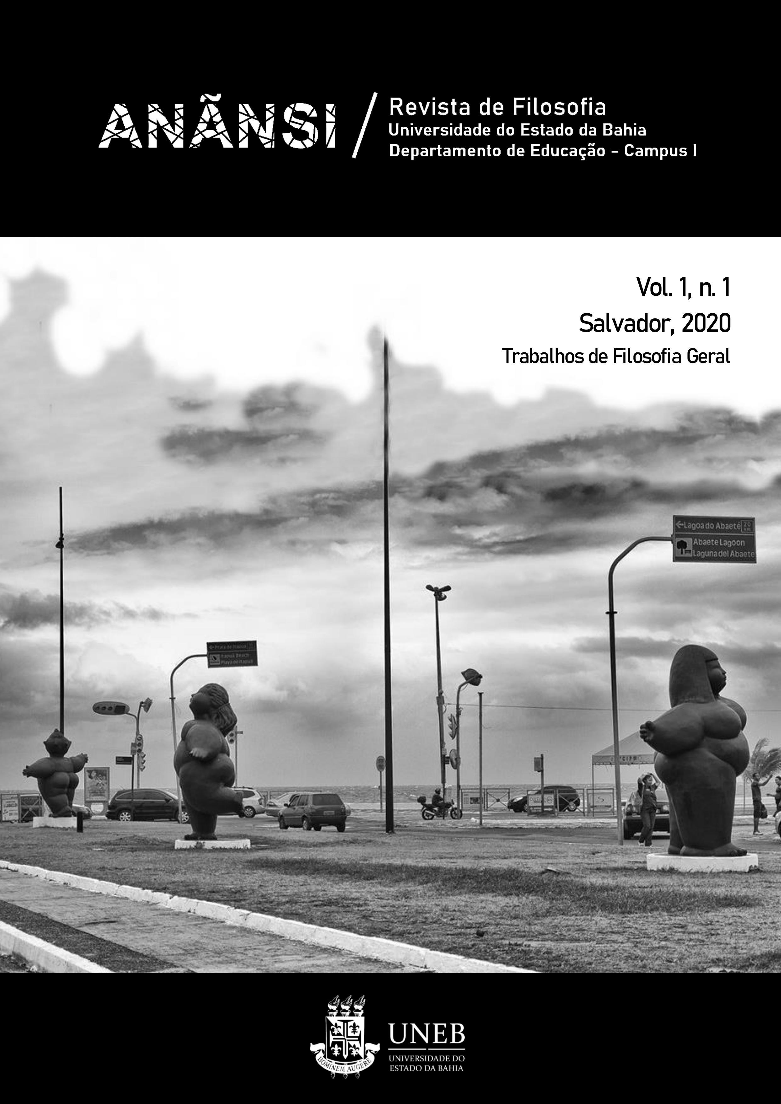 Capa da Revista Anãnsi, volume 1, número 1. A imagem de capa apresenta uma foto em preto e branco do monumento das Gordinhas de Ondina.